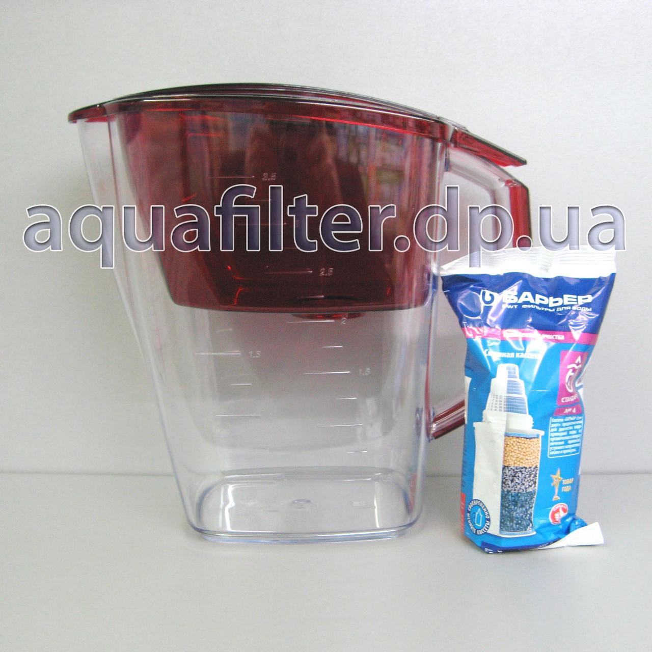 Фильтр-кувшин для воды Барьер Гранд (Grand) Гранат (Красный)