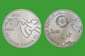 Португалия 2,5 евро 2015 г. 70 лет мира в Европе , UNC