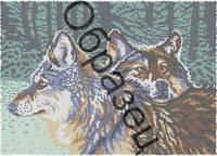 Схема для вышивки бисером «Волчья пара»