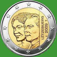 Люксембург 2 евро 2009 г. 90 лет вступления на престол герцогони Шарлотты. UNC