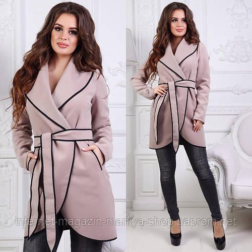 Пальто женское пояс карманы (деми)