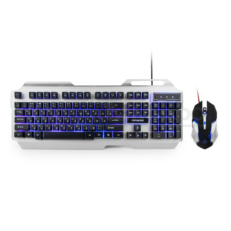 """Комплект клавиатура + мышь Гарнизон GKS-510G игровой, подсветка, металлическое основание, код """"Survarium"""", USB, чёрно-серый"""