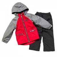Демисезонная куртка на флисе и штаны на подкладке черные  для мальчика, Chili / Deep Grey,  NANO