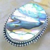 Кольцо с натуральным перламутром галиотис в серебре. Галиотис в серебре 20 размер Индия, фото 1