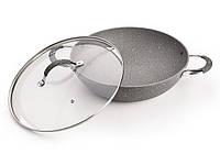 Сковорода-вок Fissman IRON STONE 32x9см со стеклянной крышкой (алюм. с антиприг. каменным покрытием)