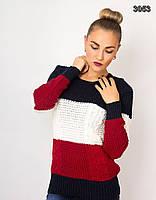 Трехцветный теплый женский свитер