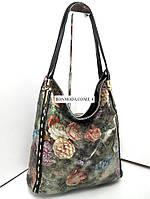 Натуральная кожа женская сумка разноцветная с цветами
