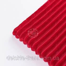 Отрез плюша в полоску Stripes вишневого цвета 100*80 см