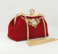 Велюровый клатч Rose Heart 1752 красный, сумочка на цепочке