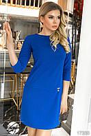 Женское платье цвета электрик с молниями по бокам. Модель 17330. Размеры 42-46, фото 1