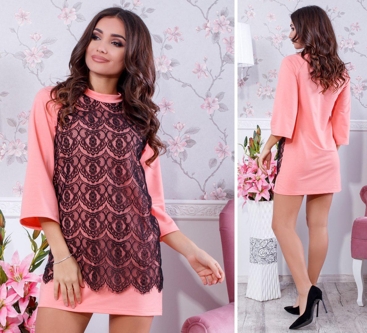 468b094e881 Платье туника с кружевом в расцветках 32159  Интернет-магазин модной ...