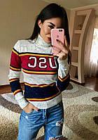 """Стильный женский свитер """"Анна"""" (меланж-бордовый), фото 1"""