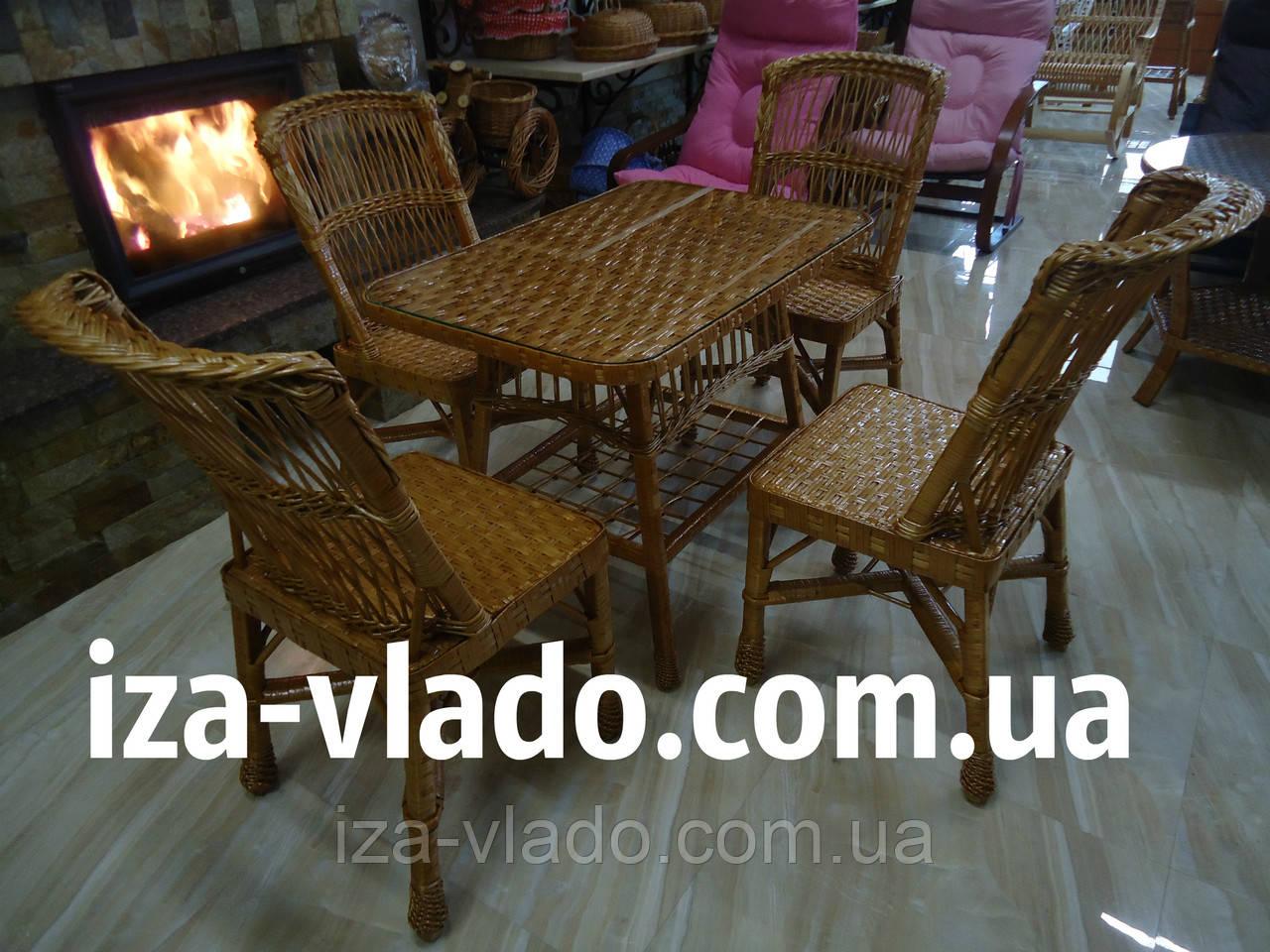 Плетеная мебель из лозы для кухни — прямоугольный стол и 4 стула