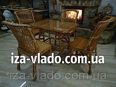 Плетеная мебель из лозы для кухни — прямоугольный стол и 4 стула, фото 3