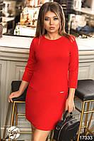 Женское платье красного цвета с молниями по бокам. Модель 17333. Размеры 42,44