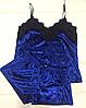 Женская велюровая пижама синяя 016\1