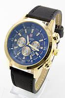 Наручные мужские часы (золотой корпус, черный ремешок)