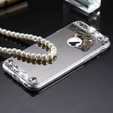 Силіконовий чохол для Apple iPhone 6 / 6S Silver з камінням, фото 3