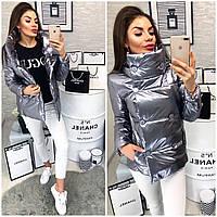 Куртка демисезонная, модель 1001,цвет серый металлик