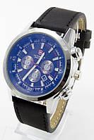 Наручные мужские часы (серебристый корпус, черный ремешок)