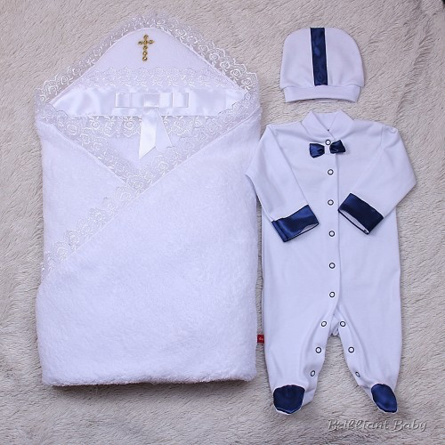 Набор для мальчика крестины Корсар+Бантик (белый)