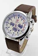 Наручные мужские часы (серебристый корпус, коричневый ремешок)