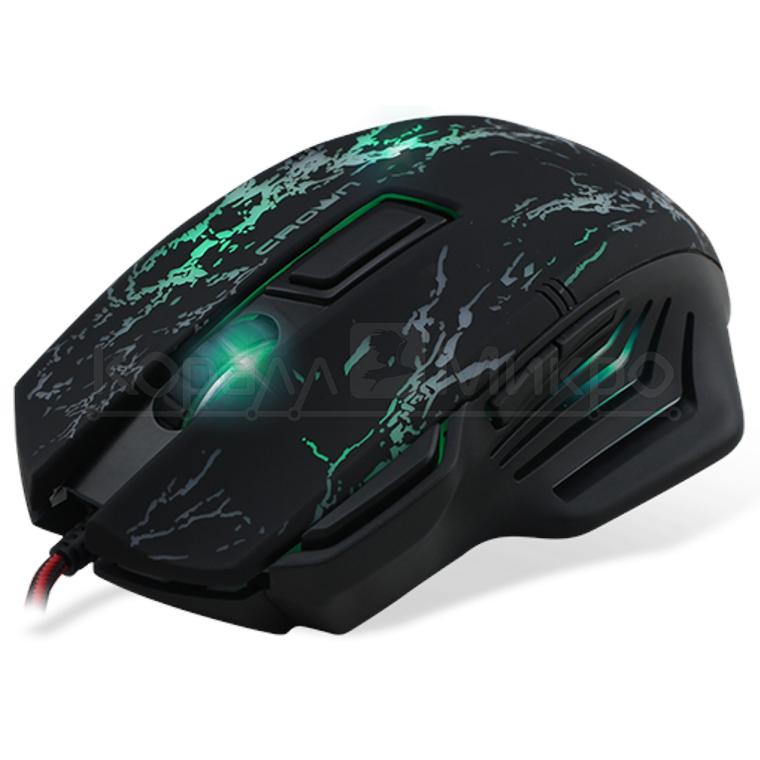 Мышь Crown CMXG-601 игровая, 1800dpi, подсветка, USB, чёрный