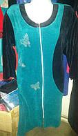 Женский велюровый домашний халат на молнии