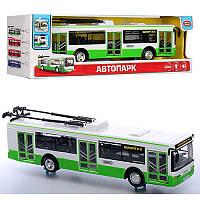Троллейбус 28 см модель бело зеленная металл масштаб 1:43, звук, свет, инерция, двери откр, Автопарк 9690