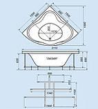 Гидромассажная ванна с врезным смесителем Triton Лилия, 1500х1500х680 мм, фото 2