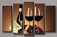 Картина модульная HolstArt Красное вино 3 85*130см 5 модулей арт.HAB-102