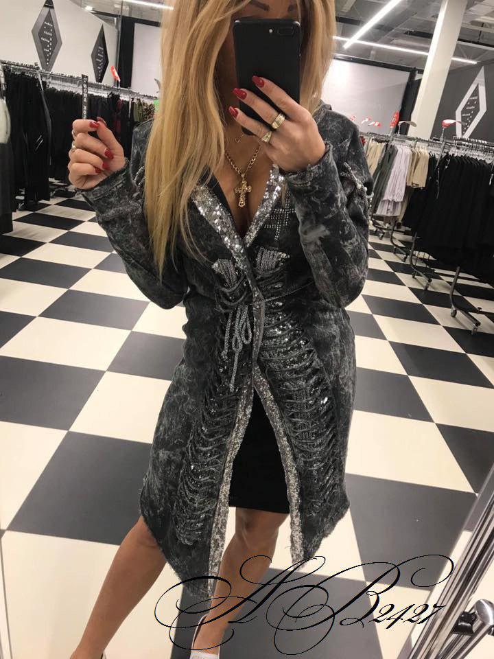 2c60ece4 Женское джинсовое пальто с пайетками - Интернет-магазин