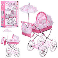 Коляска детская игрушечная для куклы  81021, классика, 81-42-68см, корзина, зонт,сумка, подушка,в кор-ке,