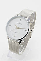 Женские кварцевые наручные часы (белый циферблат, серебристый ремешок)