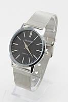 Женские кварцевые наручные часы (черный циферблат, серебристый ремешок)