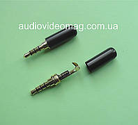 Штекер 3.5 (4 pin) металлический, цвет - черный