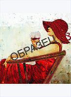 Схема для контурной вышивки бисером «Бокал красного вина»