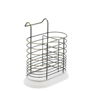 Навісна сушка для столових приладів овальна хром з пластиковою підставкою