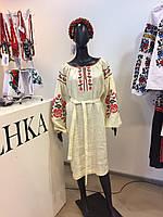 Льняное платье вышиванка машинная вышивка Роза