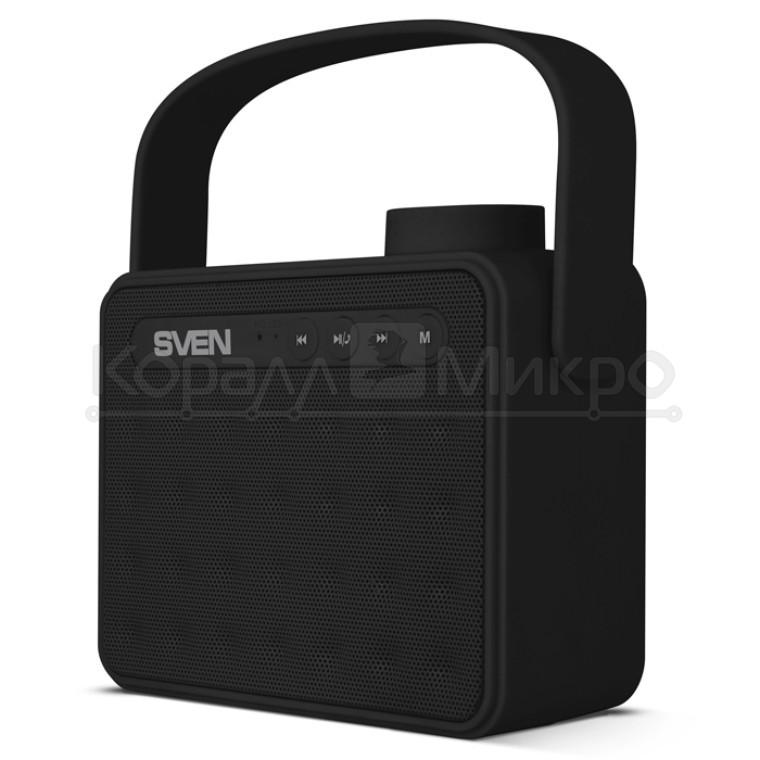 Колонки портативные 2.0 Sven PS-72 RMS 6W, Bluetooth, микрофон, FM, USB, microSD, питание от аккумулятора, чёрный
