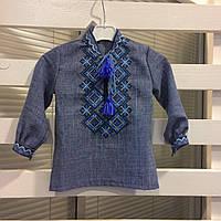 Джинсовая сорочка с вышивкой для мальчика