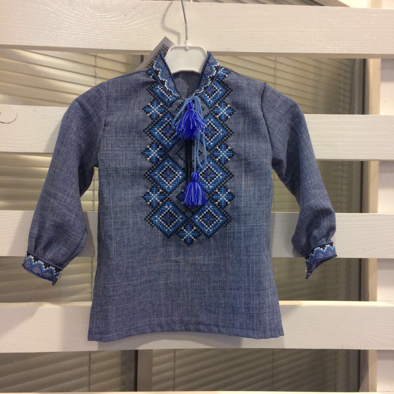 Подростковая джинсовая сорочка с вышивкой для мальчика