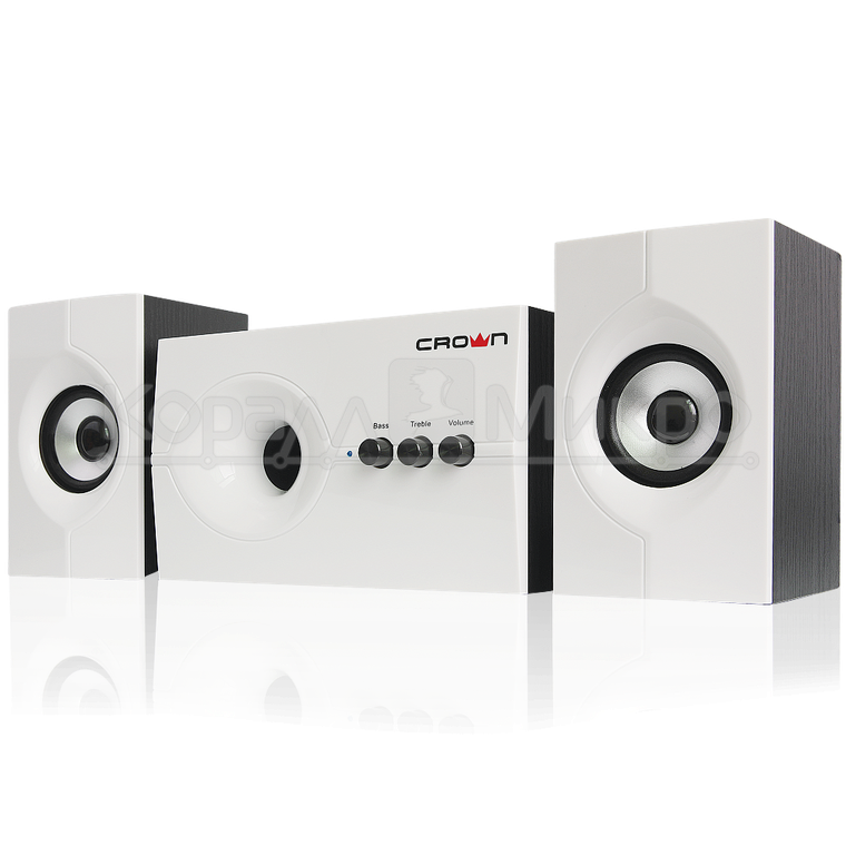 Колонки 2.1 Crown CMS-350 RMS 35W, Bluetooth, МДФ, белый