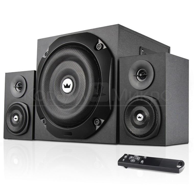 Колонки 2.1 Crown CMS-3801 RMS 40W, FM, USB, SD,ПДУ, МДФ, чёрный