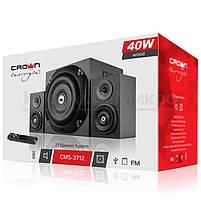Колонки 2.1 Crown CMS-3801 RMS 40W, FM, USB, SD,ПДУ, МДФ, чёрный, фото 5