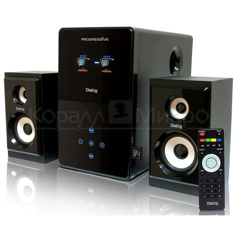 Колонки 2.1 Dialog Progressive AP-220 RMS 60W, Bluetooth, FM, USB, SD, ПДУ, МДФ, чёрный