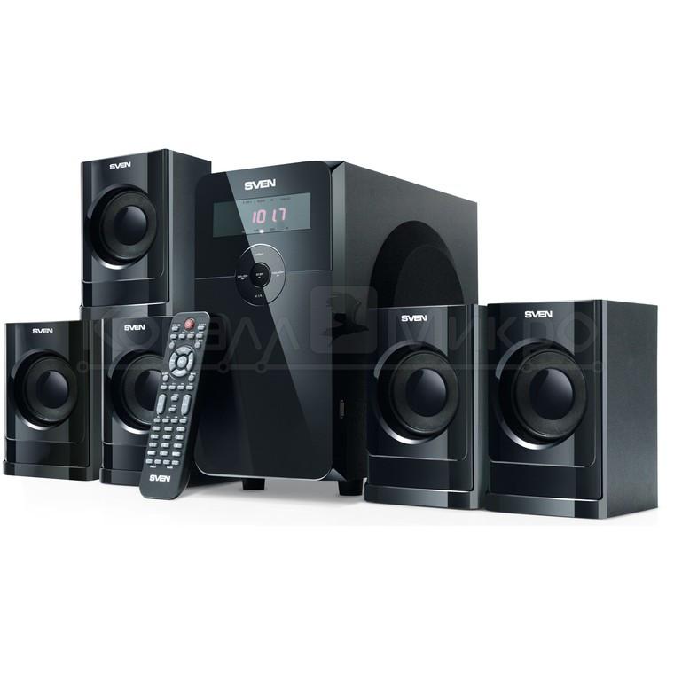 Колонки 5.1 Sven HT-200 RMS 80W, FM, USB, SD, дисплей, ПДУ, МДФ, чёрный