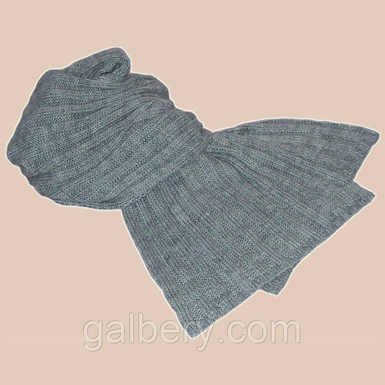 В'язаний шарф - петля сріблясто-сірого кольору