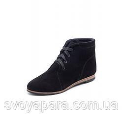 Женские чёрные демисезонные ботинки из натуральной замши с шнуровкой на подошве с низким каблучком