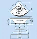 Гидромассажная ванна с врезным смесителем Triton Виктория, 1500х1500х670 мм, фото 2